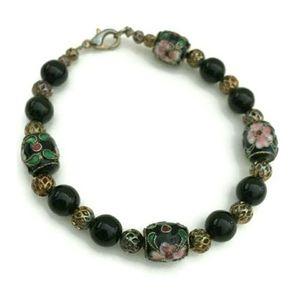 Vintage Asian Inspired Cloisonne Beaded Bracelet